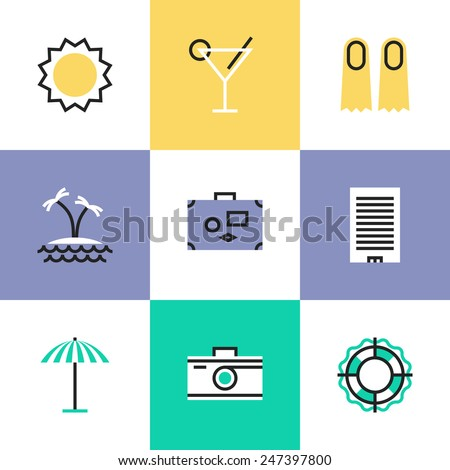 Flat line icons of summer vacation and travel to tropical paradise, swimming and diving relaxation, taking picture on a camera. Infographic icons set, logo abstract design pictogram vector concept. - stock vector