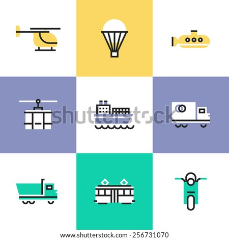 Flat line icons of various transportation, by water and air, on rail and roads, for shipping goods and carriage people. Infographic icons set, logo abstract design pictogram vector concept. - stock vector