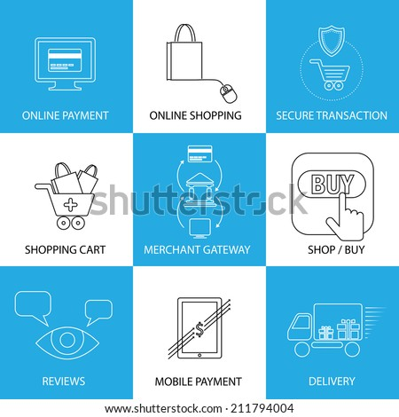 flat line icons on shopping, e-commerce, m-commerce - concept vector. This graphic also represents shopping on websites, payment using credit cards, merchant gateways, secure transactions, delivery - stock vector