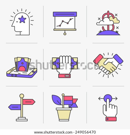 Flat Line Icons Set. Business and Finance,Business Agreements, Mobile Banking, Success.Isolated Objects in a Modern Style for Your Design. - stock vector