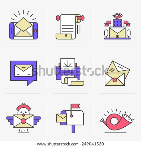 Flat Line Icons Set. E-mail, Post Office, a Communication Method. Isolated Objects in a Modern Style for Your Design. - stock vector