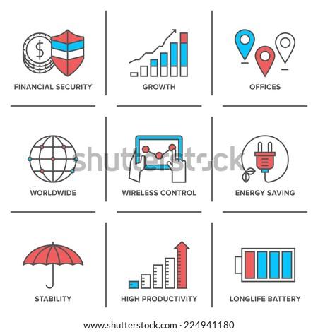 Flat line icons set financial security, high productivity, success business workflow, power and energy savings, worldwide connection. Modern trend design vector concept. Isolated on white background. - stock vector