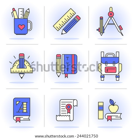 Flat Line Icons Set. Learning & Education, Stationery Set School Supplies. Isolated Objects in a Modern Style for Your Design. - stock vector