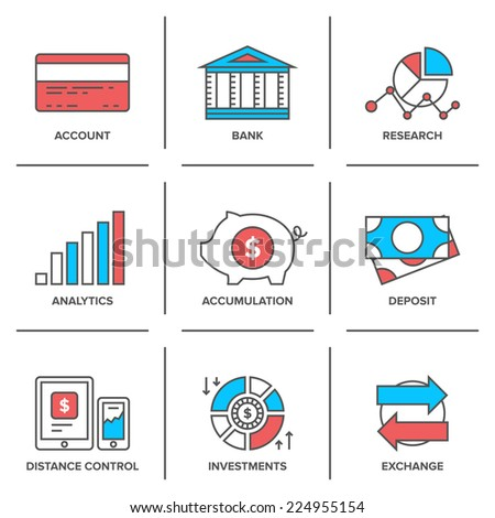 Flat line icons set of banking account, financial analytics, currency exchange, money investment and credit card deposit. Modern trend design style vector concept. Isolated on white background. - stock vector