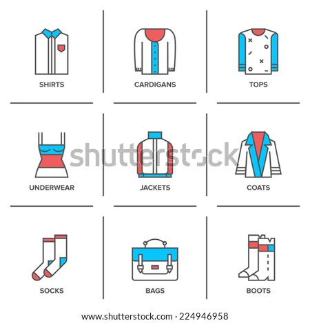 Flat line icons set of basic clothing and accessories - shirt, cardigan, top, underwear, jacket, coat, socks, bag and footwear. Modern trend design style vector concept. Isolated on white background. - stock vector