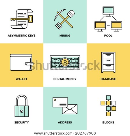 Flat line icons set of bitcoin digital money, cryptocurrency system and mining pool, security software technology and virtual currency management. Flat design style modern vector illustration concept  - stock vector