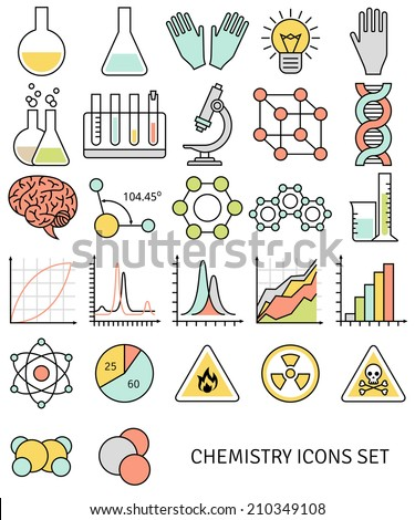 Flat line icons set of chemistry symbols and objects. Modern concept. Vector illustration. Science and education elements. Chemical test tubes icons. - stock vector