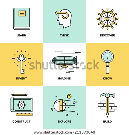 Flat line icons set of creative thinking process, learning and study activities, explore and discovery new things, planning and creating innovation projects. Modern design vector illustration concept. - stock vector
