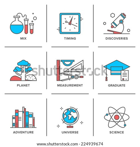 Flat line icons set of discovery new things, school measurement items, science and chemistry, planet adventure, planet geography. Modern trend design style vector concept. Isolated on white background - stock vector