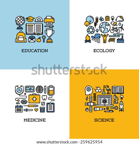 Flat line icons set of education, ecology, medicine, science. Creative design elements - stock vector