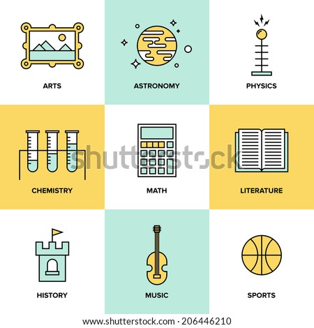 Flat line icons set of education main subjects, schooling symbol and learning elements, studying and educational objects. Flat design style modern vector illustration concept. - stock vector