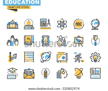 Flat line icons set of education process, online learning, e-book, webinar audio course, distance education, basic and elementary study, science, creative process, university and courses. - stock vector