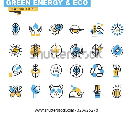 Flat line icons set of green technology, ecology, renewable energy, environment, natural life, nature protection. Vector concept for graphic and web design. - stock vector