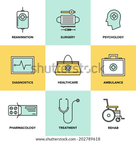 Flat line icons set of healthcare technology, diagnostic equipment, surgery tools, psychology and pharmacology, ambulance emergency, medicine treatment. Modern design style vector symbol collection. - stock vector