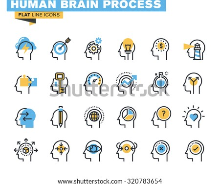 Flat line icons set of human brain process, brain thinking, emotions, mental health, creative process, business solutions, character experience, learning, strategy and development, opportunities.  - stock vector