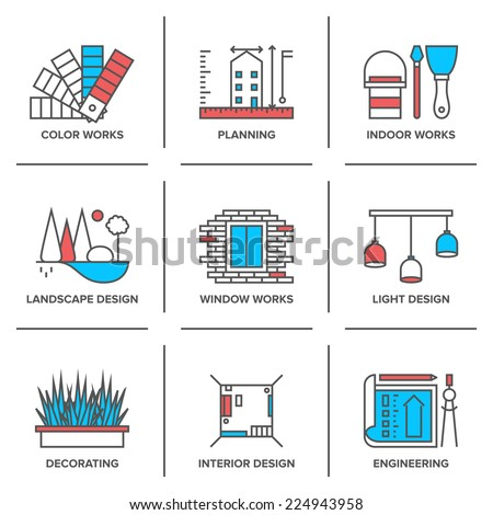 Flat line icons set of interior design work, landscape and house decoration, construction planning, engineering project. Modern trend design style vector concept. Isolated on white background. - stock vector