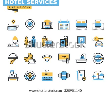 Flat line icons set of major hotel service facilities, resort accommodation, motel facility and hostel amenities, online booking, sport and leisure activities, rent a car service, entertainment - stock vector