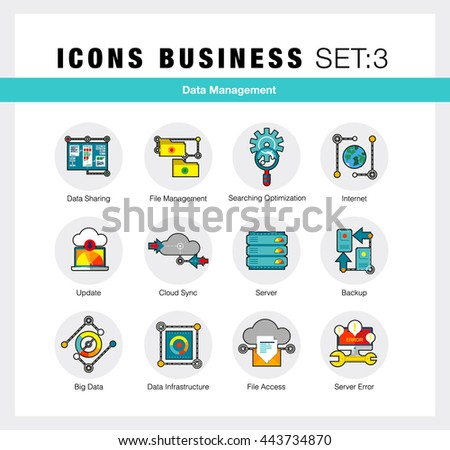 Flat line icons set of network system backup, data management in modern flat design linear pictogram set collection of premium quality web graphics material. Outline concept of mono stroke symbol pack - stock vector