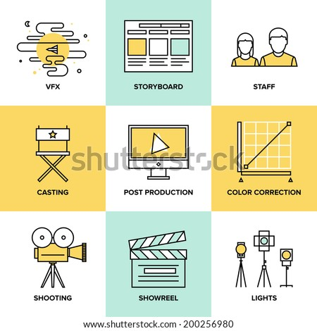 Flat line icons set of professional film production, movie shooting, studio showreel, actors casting, storyboard writing and post production. Flat design style modern vector illustration concept. - stock vector