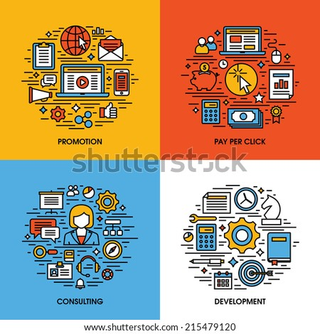 Flat line icons set of promotion, pay per click, consulting, development. Creative design elements for websites, mobile apps and printed materials - stock vector