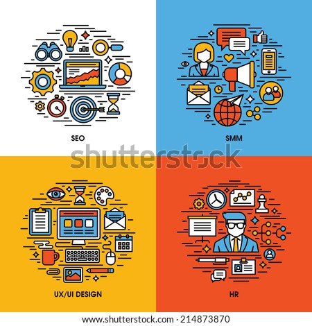 Flat line icons set of SEO, SMM, UI and UX design, HR. Creative design elements for websites, mobile apps and printed materials - stock vector
