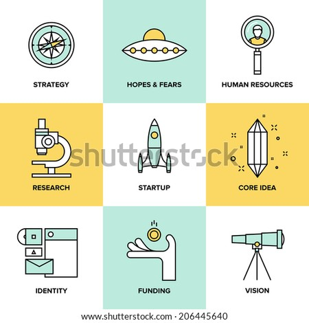 Flat line icons set of small business planning development, startup key elements, strategy solution, market research, brand identity and company vision. Modern design style vector illustration concept - stock vector