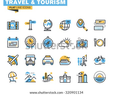 Flat line icons set of travel and tourism sign and object, holiday trip planning, online travel services, tour organization, air travel to cruise, summer and winter vacation, city break. - stock vector