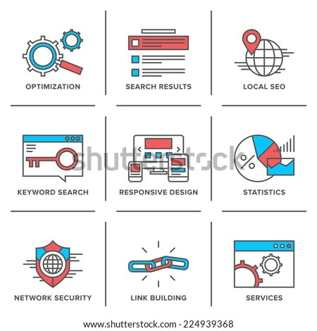 Flat line icons set of website search engine optimization, seo analytics, network security, keyword management, webpage traffic development. Modern trend design style vector concept.  - stock vector