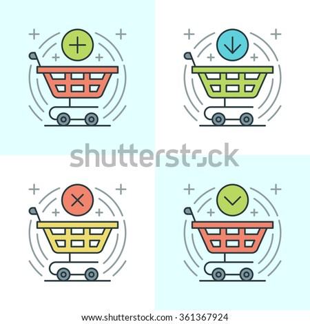 Flat line icons set. Thin linear stroke vector icons Shopping cart, Purchase Product, Buy Button, E-commerce concept. Website graphics, Mobile Apps, Infographics design. Outline pictogram pack. - stock vector
