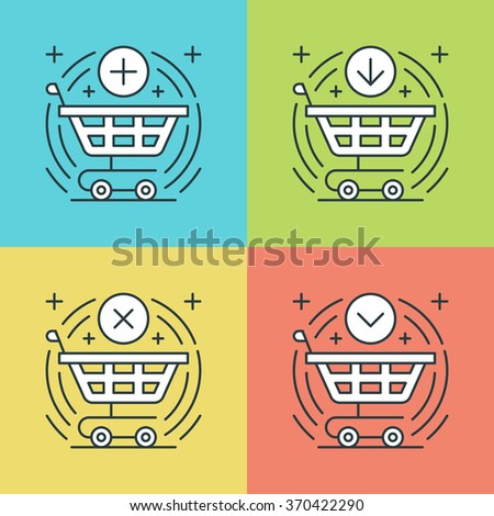 Flat line icons set. Thin linear stroke vector icons Shopping cart, Purchase Product, Buy Button, E-commerce symbols. Website graphics, Mobile Apps, Infographics design. Outline pictogram pack. - stock vector
