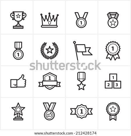 Flat Line Icons Trophy and Prize Icons Vector Illustration - stock vector