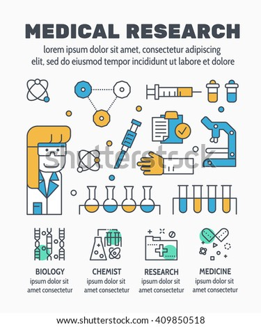 Flat line illustration design of MEDICAL RESEARCH and elements icon concept for website banner, printing , book cover and corporate documents.