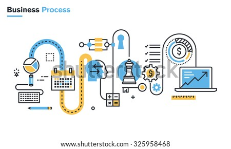 Flat line illustration of business process, market research, analysis, planning, business management, strategy, finance and investment, business success. Concept for web banners and printed materials. - stock vector