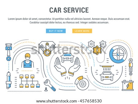 Flat line illustration of Car service. Concept for web banners and printed materials. Template with buttons for website banner and landing page. - stock vector