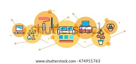 Flat Line Illustration Interior Design Process Stock Vector