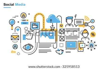 Flat line illustration of social media, social networking, video and photo sharing, communication, blogging, lifecasting, social commerce. Concept for web banners and printed materials.