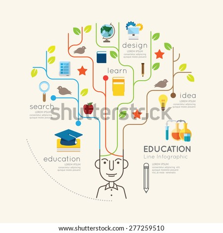 Flat line Infographic Education People and Pencil Tree Outline concept.Vector Illustration.  - stock vector