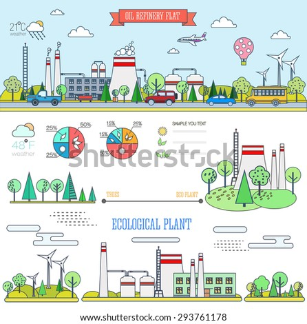 flat line infographic plant design with graphics eco elements, set elements collections