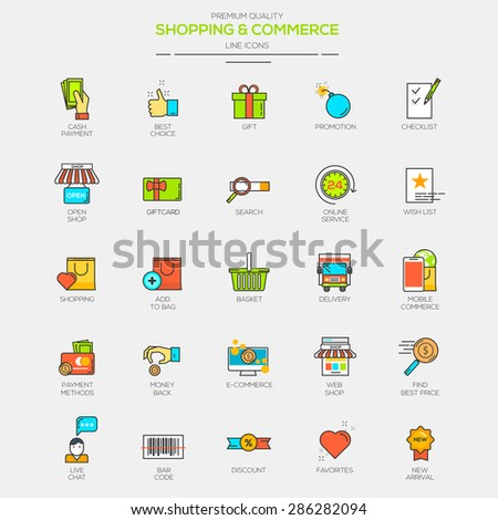Flat Line Modern Color icons for Shopping and Commerce. Vector - stock vector