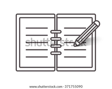 Flat line open notebook icon with pencil - stock vector