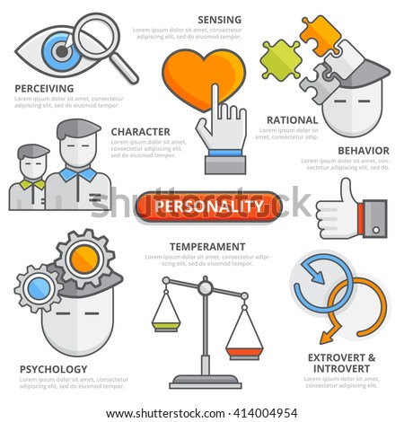 Flat line personality thinking traits concept: perceiving sensing character rational behavior temperament psychology extrovert introvert. Design elements for web, apps, isolated illustration template - stock vector
