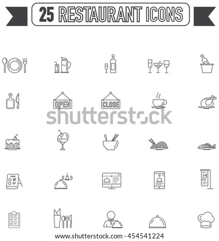 Flat line silhouette food, beverage, and restaurant sign and symbol icon collection set, create by vector  - stock vector