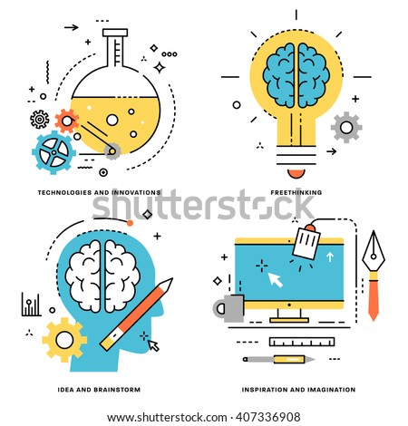 Flat Line Vector Set. Technologies and Innovations, Idea and Brainstorm, Freethinking, Inspiration and Imagination Concepts. - stock vector