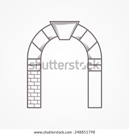 Flat line vintage design abstract vector icon for round arch with keystone on white background. - stock vector