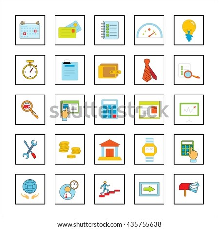 Flat linear business icons. For websites, web pages, banners, illustration on business theme. Isolated object.