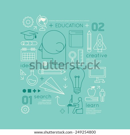 Flat linear Infographic Education Outline Technology Charts Concept.Vector Illustration. - stock vector