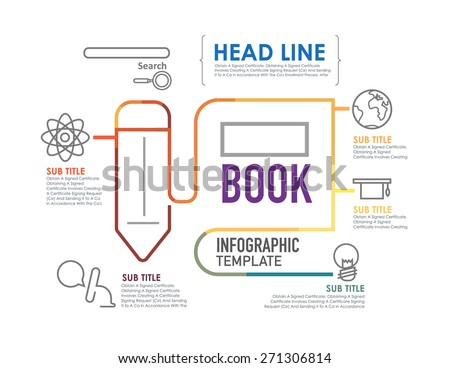 Flat linear Infographic Education template.Vector Illustration. - stock vector
