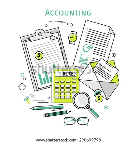 Flat linear vector icons  illustration design concepts for business and finance. Top view. Concepts for taxes, finance, bookkeeping, accounting, business, market etc. - stock vector