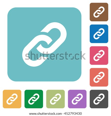 Flat link symbol icons on rounded square color backgrounds. - stock vector