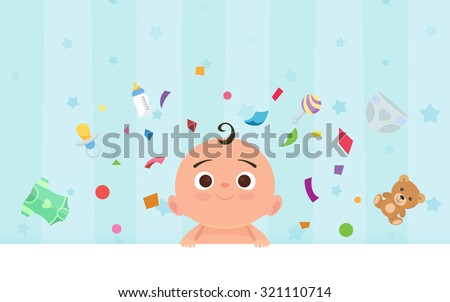 Flat little happy boy with toys - stock vector